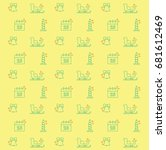 yellow vector christmas pattern ... | Shutterstock .eps vector #681612469