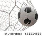 foot ball soccer shoot in goal... | Shutterstock . vector #681614593