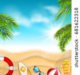 beautiful banner with palm... | Shutterstock .eps vector #681622318