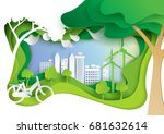 nature landscape and eco... | Shutterstock .eps vector #681632614