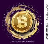 mining bitcoin cryptocurrency... | Shutterstock .eps vector #681633640