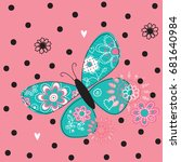 floral butterfly on polka dots... | Shutterstock .eps vector #681640984