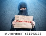 muslim girl in black hijab... | Shutterstock . vector #681643138