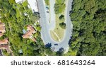 aerial view of road running... | Shutterstock . vector #681643264