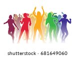 group of dancing people at a... | Shutterstock .eps vector #681649060