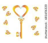 key with orange hearts | Shutterstock .eps vector #681656320