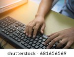 woman hand typing on the... | Shutterstock . vector #681656569