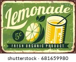 lemonade vintage tin sign.... | Shutterstock .eps vector #681659980