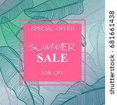 summer sale banner  poster with ... | Shutterstock .eps vector #681661438
