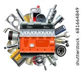 vector engine with car spares | Shutterstock .eps vector #681664849