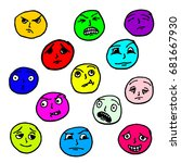 set doodle faces. the facial... | Shutterstock .eps vector #681667930