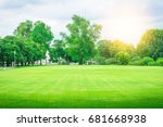 lawn  garden and trees | Shutterstock . vector #681668938