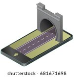 vector stone tunnel with... | Shutterstock .eps vector #681671698