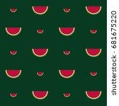 watermelon vector seamless... | Shutterstock .eps vector #681675220