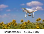 Drone Hovering Over Sunflower...