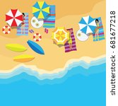 top view of summer vacation... | Shutterstock .eps vector #681677218