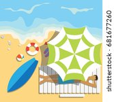 top view of summer vacation... | Shutterstock .eps vector #681677260