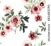 petunia and peonies in shades... | Shutterstock . vector #681683290