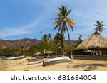 boats and palm trees in beach... | Shutterstock . vector #681684004