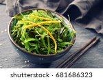 japanese seaweed salad in a bowl | Shutterstock . vector #681686323