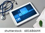 white tablet pc and doctor... | Shutterstock . vector #681686644