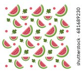 pattern with sweet watermelon... | Shutterstock .eps vector #681689230