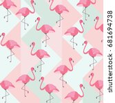 abstract vintage summer pattern ... | Shutterstock .eps vector #681694738