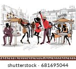 series of the streets with... | Shutterstock .eps vector #681695044