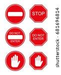 vector set stop do not enter... | Shutterstock .eps vector #681696814