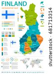 finland map and flag   vector... | Shutterstock .eps vector #681713314