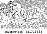 kids coloring page.coloring... | Shutterstock .eps vector #681715858