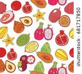 seamless hand drawn pattern... | Shutterstock . vector #681717850