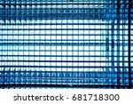 gradient blue color metal mesh... | Shutterstock . vector #681718300