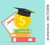 investment in education. a gold ... | Shutterstock .eps vector #681721858