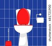 white toilet bowl  brush for...   Shutterstock .eps vector #681721900