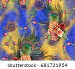 Stock photo textile background pattern floral print design 681721954