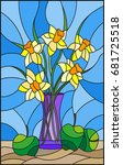 illustration in stained glass... | Shutterstock .eps vector #681725518