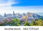 landscape of castles is covered ... | Shutterstock . vector #681729163