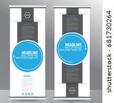 blue roll up business brochure...   Shutterstock .eps vector #681730264