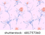 seamless pattern with clover on ... | Shutterstock . vector #681757360