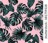 seamless tropical jungle... | Shutterstock . vector #681759328