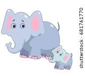 cute elephant   vector file.... | Shutterstock .eps vector #681761770