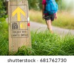 walking on camino de santiago  | Shutterstock . vector #681762730