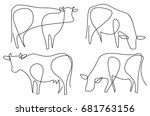 cow one line drawing | Shutterstock .eps vector #681763156