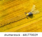 aerial view of combine... | Shutterstock . vector #681770029