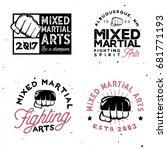 mma logo templates in vintage... | Shutterstock .eps vector #681771193