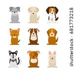icon set love dogs | Shutterstock .eps vector #681773218