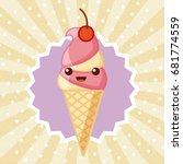 ice cream delicious cartoon | Shutterstock .eps vector #681774559