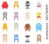 chairs icon set. seating... | Shutterstock .eps vector #681784849