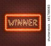 winner concept neon vector... | Shutterstock .eps vector #681788083